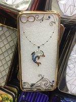 Прозрачный силиконовый чехол с рисунком дельфин для iPhone 7 со стразами и золотым ободком