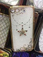 Прозрачный силиконовый чехол с рисунком звезда для iPhone 7 со стразами и золотым ободком