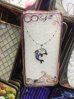 Прозрачный силиконовый чехол с рисунком дельфин для iPhone 7 / 8 со стразами и ободок розовое золото