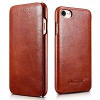 Коричневый кожаный винтажный чехол книжка для iPhone 7 - i-Carer Curved Edge Vintage Series Genuine Leather Case Brown