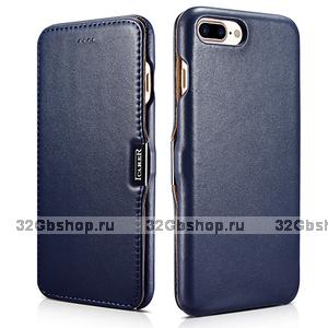 Кожаный чехол книга для iPhone 7 Plus синий с магнитной защелкой - i-Carer Luxury Series Magnetic Side-open Blue
