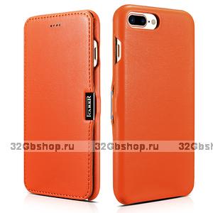 Кожаный чехол книжка для iPhone 7 Plus оранжевый c магнитной защелкой - i-Carer Luxury Series Magnetic Side-open Orange