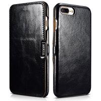 Черный кожаный чехол книга для iPhone 7 Plus винтажный с магнитной защелкой - i-Carer Vintage Series Side-open Magnetic Black