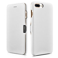 Кожаный чехол книга для iPhone 7 Plus белый с магнитной защелкой - i-Carer Luxury Series Magnetic Side-open White