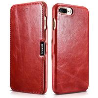 Красный кожаный чехол книга для iPhone 7 Plus винтажный с магнитной защелкой - i-Carer Vintage Series Side-open Magnetic Red