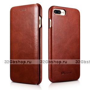 Кожаный чехол книжка для iPhone 7 Plus винтажный коричневый - i-Carer Curved Edge Vintage Series Brown