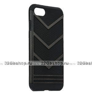 Защитный противоударный чехол для iPhone 6 / 6s черный пластик-силикон