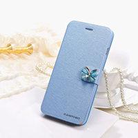 """Чехол книжка - подставка для iPhone 6 Plus / 6s Plus (5.5"""") голубая с застежкой бабочкой и отсеком для хранения карт"""