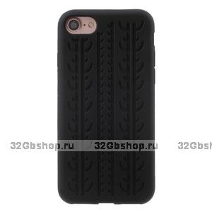 Силиконовый чехол накладка Tyre Tread Case для iPhone 7 черный протектор шины