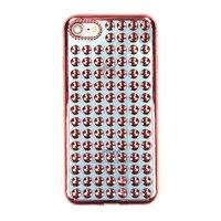 Объемный силиконовый чехол для iPhone 7 голубой - 3D капли розовое золото