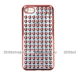 Объемный силиконовый чехол для iPhone 7 / 8 голубой - 3D капли розовое золото