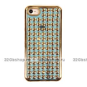 Золотой объемный силиконовый чехол для iPhone 7 - 3D капли