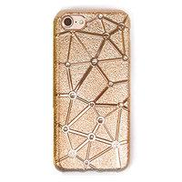 Золотистый мягкий силиконовый чехол для iPhone 7 со стразами