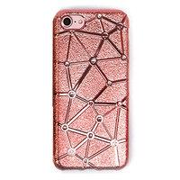 Мягкий силиконовый чехол для iPhone 7 со стразами розовое золото