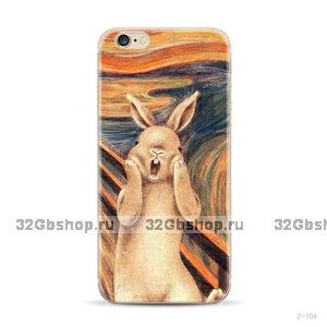 """Силиконовый чехол для iPhone 6 / iPhone 6s (4.7"""") с рисунком Крик - кролик"""