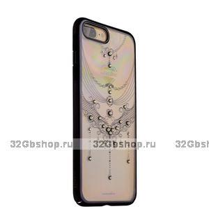 Черный пластиковый чехол со стразами KINGXBAR для iPhone 7 Plus - бабочка