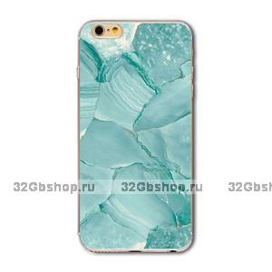 Силиконовый чехол для iPhone 7 - Silicone Case с рисунком Мрамор