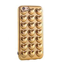 Силиконовый чехол для iPhone 7 золотые сердечки