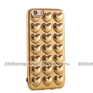 Силиконовый чехол для iPhone 7 / 7s золотые сердечки