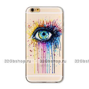 Прозрачный силиконовый чехол для iPhone 7 - Transparent Silicone Case с рисунком Глаз