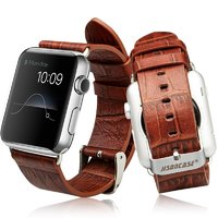 Коричневый кожаный ремешок Jison Case Croco для Apple Watch 38mm