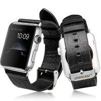 Черный кожаный ремешок Jison Case Croco для Apple Watch 42mm