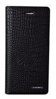 Черный кожаный чехол книжка подставка для iPhone 7 Plus - NUOKU CROC Series с отсеком для хранения карт