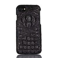 Черный кожаный чехол для iPhone 7 хребет крокодил
