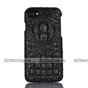 Черный кожаный чехол для iPhone 7 / 7s хребет крокодил