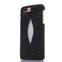 Черный чехол для iPhone 7 Plus / 8 Plus из кожи ската