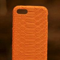 Оранжевый чехол для iPhone 7 из кожи питона