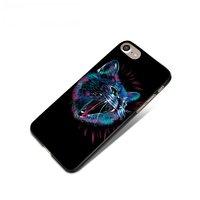 Черный пластиковый чехол для iPhone 7 с покрытием Soft Touch рисунок Злой КОТ