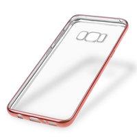 Прозрачный силиконовый чехол бампером розовое золото для Samsung Galaxy S8+ Plus