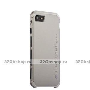 Серебристый защитный чехол для iPhone 7 / 7s противоударный пластик с стальными вставками Element Case Solace Silver