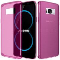 Розовый прозрачный силиконовый чехол для Samsung Galaxy S8
