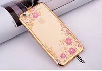 Супертонкий прозрачный силиконовый чехол цветы и стразы для iPhone 7 с золотистым ободком