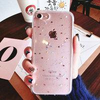 Прозрачный силиконовый чехол для iPhone 7 - Transparent Silicone Case Серебряные звезды
