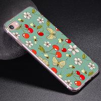 Силиконовый чехол для iPhone 7 - рисунок Вишня - бабочки