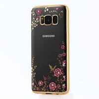 Прозрачный силиконовый чехол бампер для Samsung Galaxy S8 с золотым краем и стразами - рисунок цветы