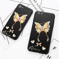 Черный силиконовый чехол со стразами для iPhone 7 / 8 рисунок Бабочка