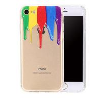Прозрачный силиконовый чехол накладка для iPhone 7 с рисунком Краски