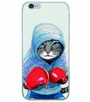 Тонкий прозрачный силиконовый чехол для iPhone 7 Plus рисунок Кот боксер
