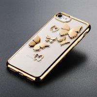 Прозрачный силиконовый чехол для iPhone 7 - Transparent Silicone Case 3D рисунок Золотые бабочки
