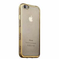Прозрачный силиконовый чехол накладка для iPhone 7 с золотым ободком со стразами