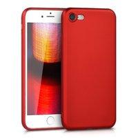 Красный тонкий силиконовый чехол накладка для iPhone 7 с покрытием Soft Touch