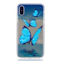 Cиликоновый чехол для iPhone X с рисунком бабочки