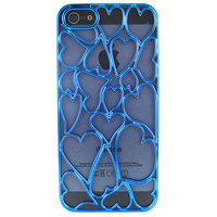 Накладка Chrome Blue Heart Case для iPhone 5 / 5s / SE голубое сердце