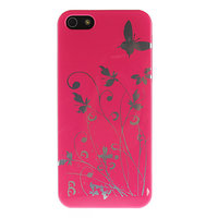 Чехол накладка для iPhone 5 / 5s / SE блестящие бабочки - розовая