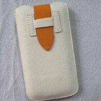 Чехол карман для iPhone 5 / 5s / SE белый c оранжевым язычком