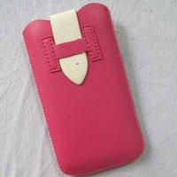 Чехол карман для iPhone 5 / 5s / SE розовый с белым язычком
